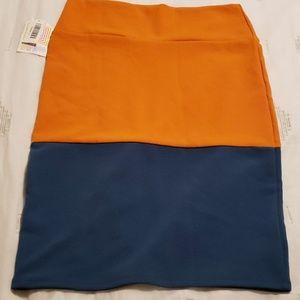 Lularoe Cassie color block orange/blue sz L NWT